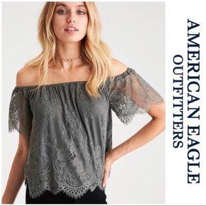 💚 American Eagle 🦅💚 lace off shoulder top SZ M